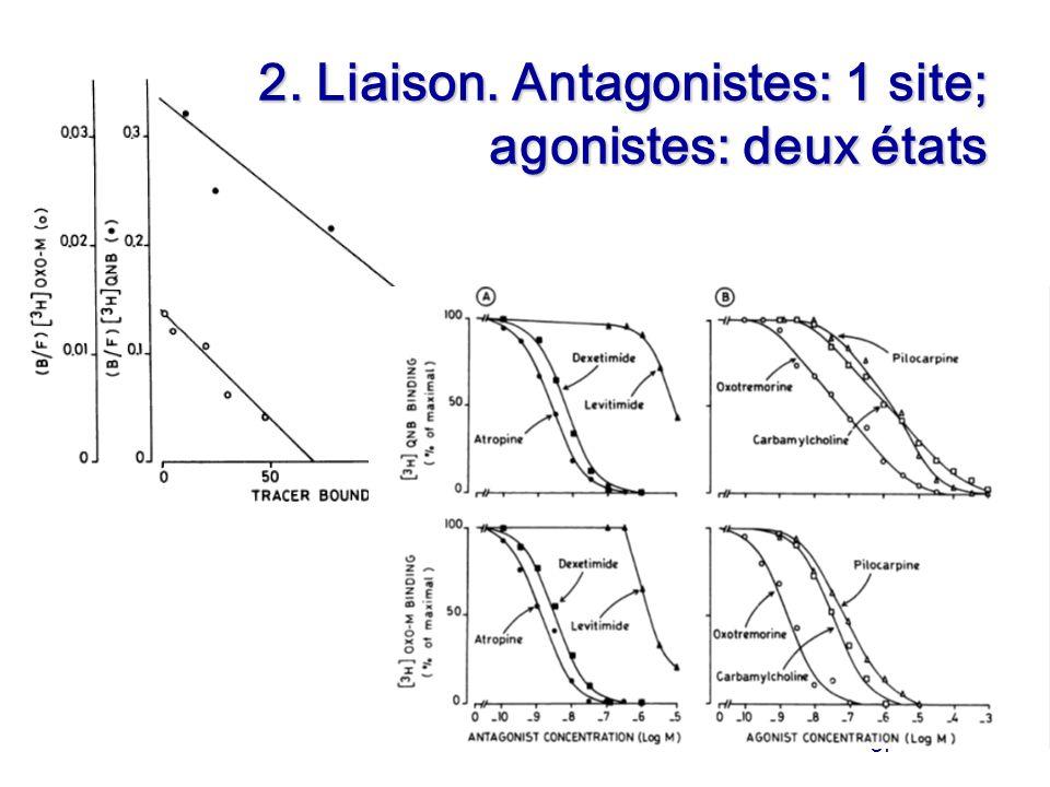 Of 2. Liaison. Antagonistes: 1 site; agonistes: deux états