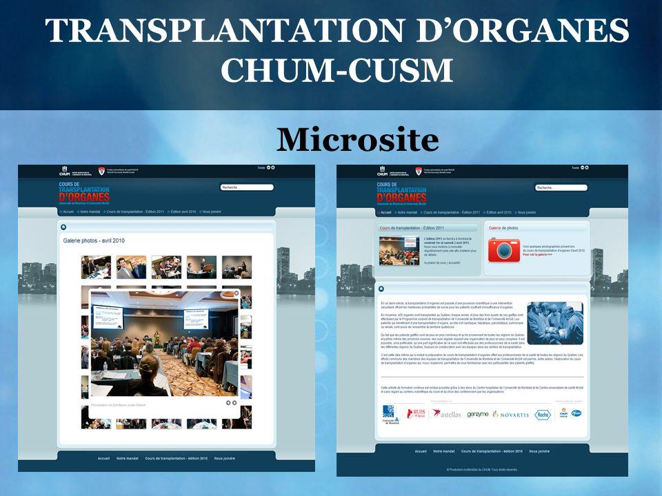 TRANSPLANTATION D'ORGANES CHUM-CUSM Microsite