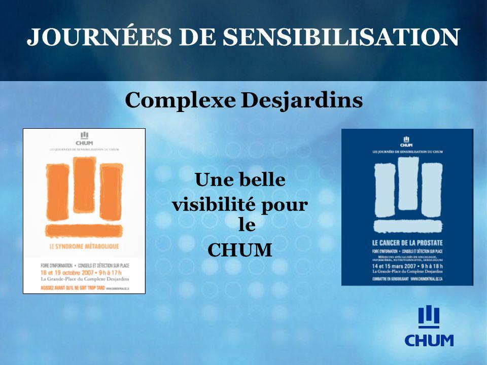 JOURNÉES DE SENSIBILISATION Complexe Desjardins Une belle visibilité pour le CHUM