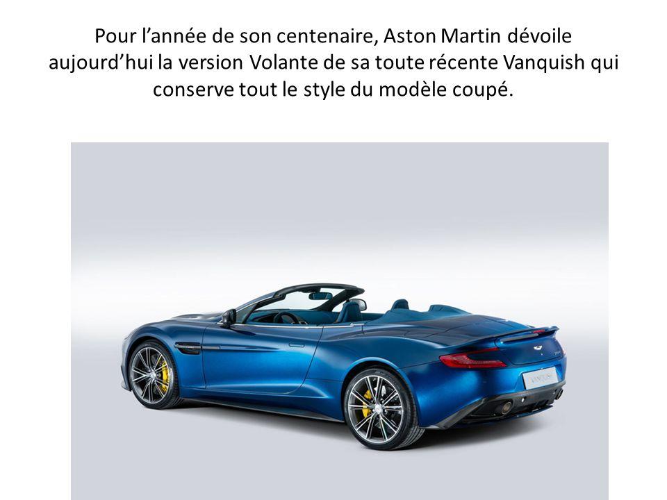 Équipée des mêmes design et moteur V12 573 chevaux que le coupé Vanquish, ce cabriolet Volante remplace la DBS avec brio et sera lancée en fin d année 2013.