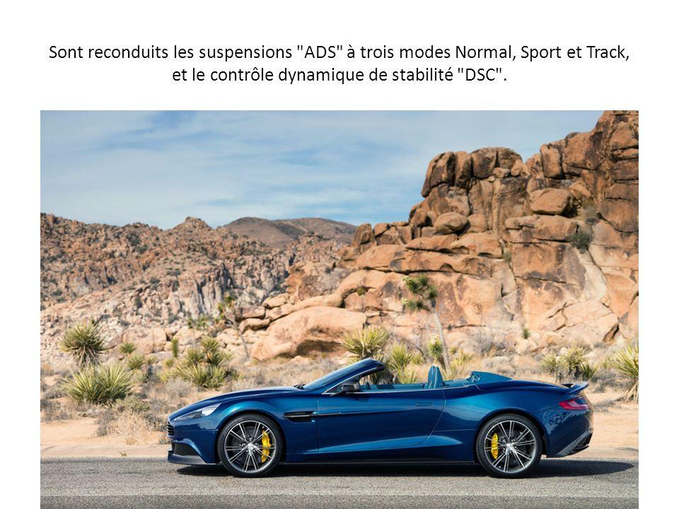 Sont reconduits les suspensions ADS à trois modes Normal, Sport et Track, et le contrôle dynamique de stabilité DSC .