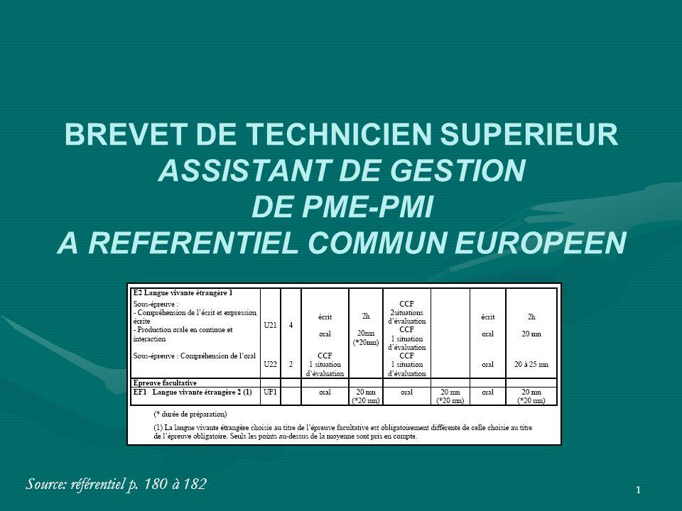 1 BREVET DE TECHNICIEN SUPERIEUR ASSISTANT DE GESTION DE PME-PMI A REFERENTIEL COMMUN EUROPEEN Source: référentiel p. 180 à 182