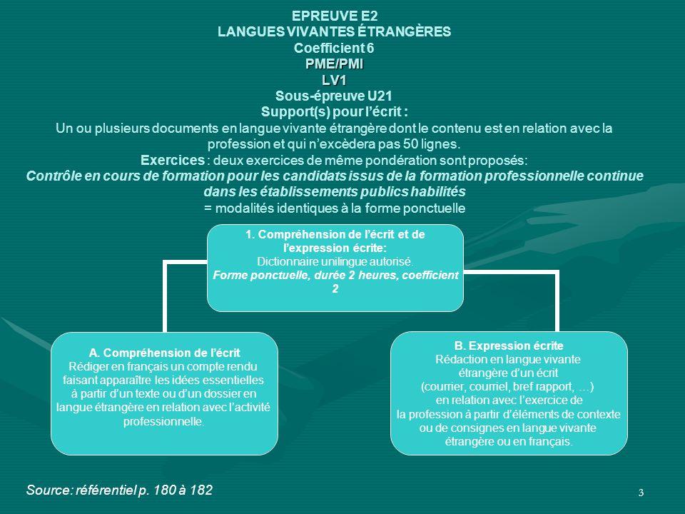 3 PME/PMI LV1 EPREUVE E2 LANGUES VIVANTES ÉTRANGÈRES Coefficient 6 PME/PMI LV1 Sous-épreuve U21 Support(s) pour l'écrit : Un ou plusieurs documents en