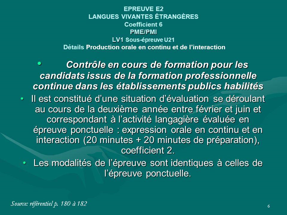 6 PME/PMI LV1 EPREUVE E2 LANGUES VIVANTES ÉTRANGÈRES Coefficient 6 PME/PMI LV1 Sous-épreuve U21 Détails Production orale en continu et de l'interactio