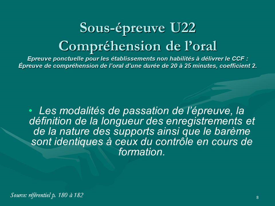 8 Les modalités de passation de l'épreuve, la définition de la longueur des enregistrements et de la nature des supports ainsi que le barème sont iden