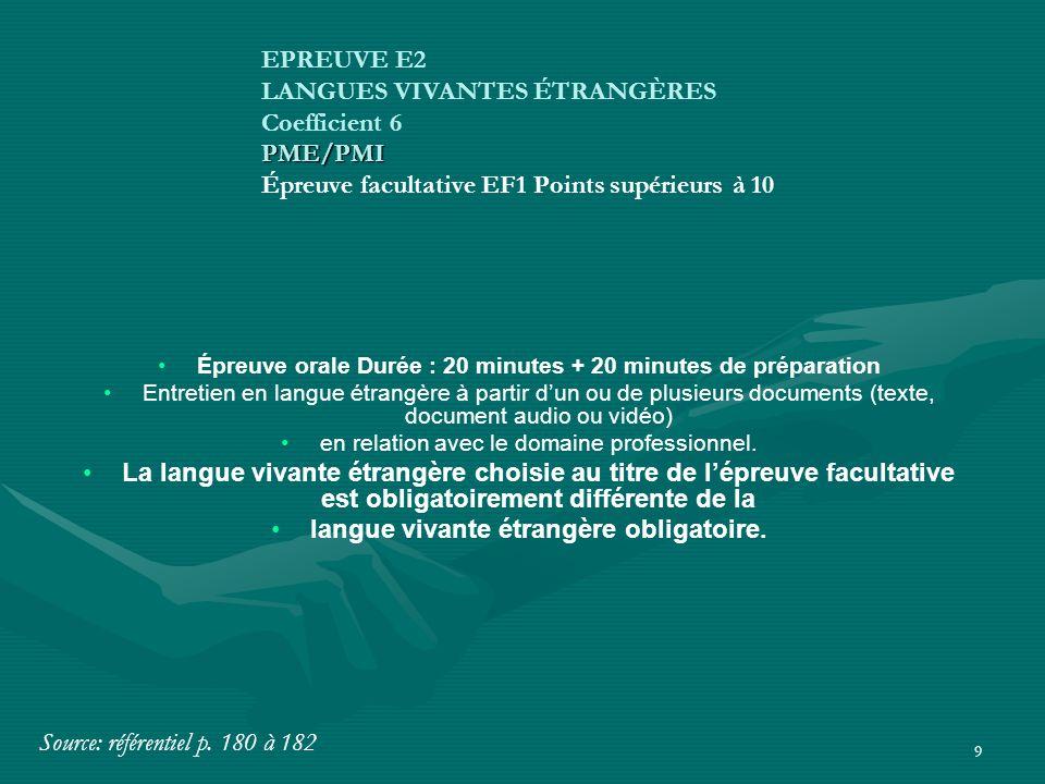 9 Épreuve orale Durée : 20 minutes + 20 minutes de préparation Entretien en langue étrangère à partir d'un ou de plusieurs documents (texte, document