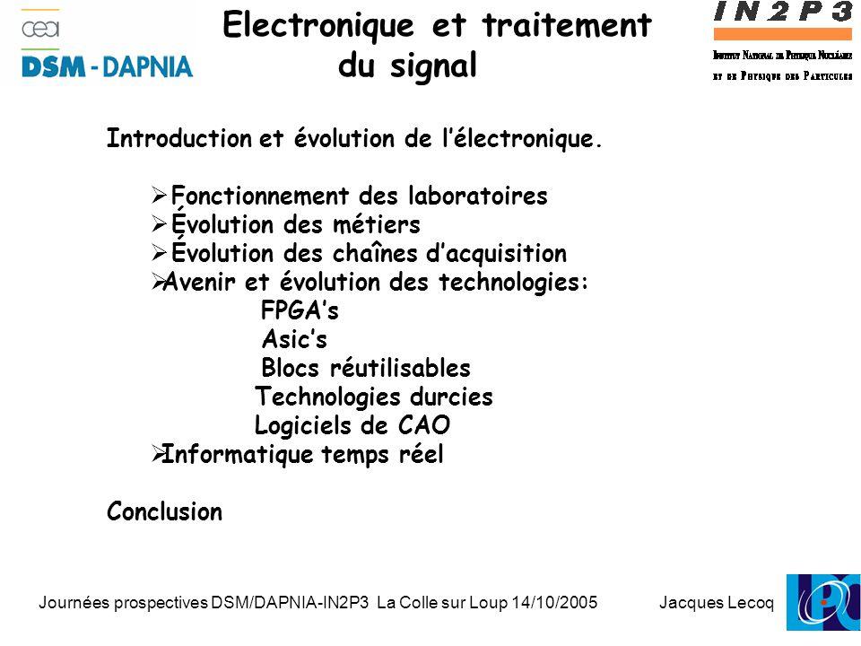 Journées prospectives DSM/DAPNIA-IN2P3 La Colle sur Loup 14/10/2005 Jacques Lecoq 1 Electronique et traitement du signal Introduction et évolution de l'électronique.