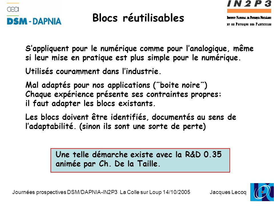 Journées prospectives DSM/DAPNIA-IN2P3 La Colle sur Loup 14/10/2005 Jacques Lecoq 1 Blocs réutilisables S'appliquent pour le numérique comme pour l'analogique, même si leur mise en pratique est plus simple pour le numérique.