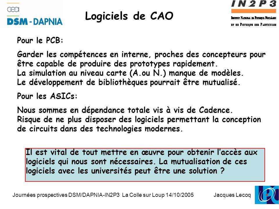 Journées prospectives DSM/DAPNIA-IN2P3 La Colle sur Loup 14/10/2005 Jacques Lecoq 1 Logiciels de CAO Pour le PCB: Garder les compétences en interne, proches des concepteurs pour être capable de produire des prototypes rapidement.