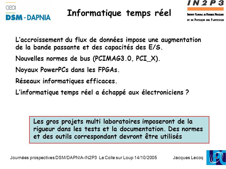 Journées prospectives DSM/DAPNIA-IN2P3 La Colle sur Loup 14/10/2005 Jacques Lecoq 1 Informatique temps réel L'accroissement du flux de données impose une augmentation de la bande passante et des capacités des E/S.