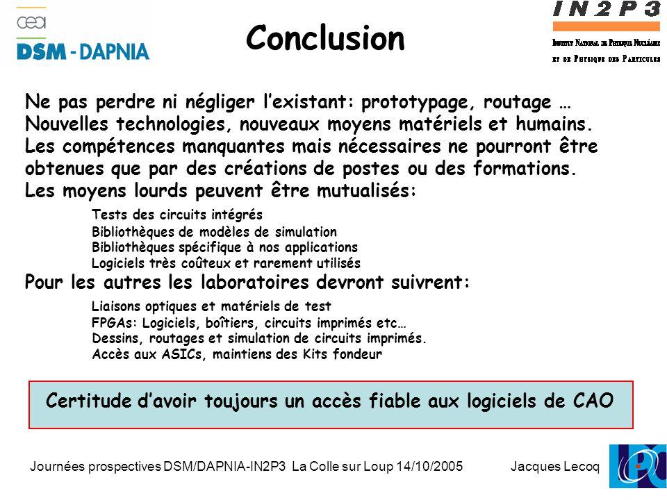 Journées prospectives DSM/DAPNIA-IN2P3 La Colle sur Loup 14/10/2005 Jacques Lecoq 1 Conclusion Ne pas perdre ni négliger l'existant: prototypage, routage … Nouvelles technologies, nouveaux moyens matériels et humains.