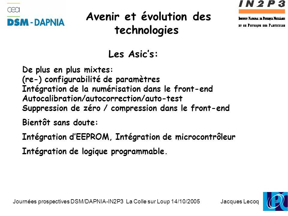 Journées prospectives DSM/DAPNIA-IN2P3 La Colle sur Loup 14/10/2005 Jacques Lecoq 1 Avenir et évolution des technologies Les Asic's: De plus en plus mixtes: (re-) configurabilité de paramètres Intégration de la numérisation dans le front-end Autocalibration/autocorrection/auto-test Suppression de zéro / compression dans le front-end Bientôt sans doute: Intégration d'EEPROM, Intégration de microcontrôleur Intégration de logique programmable.