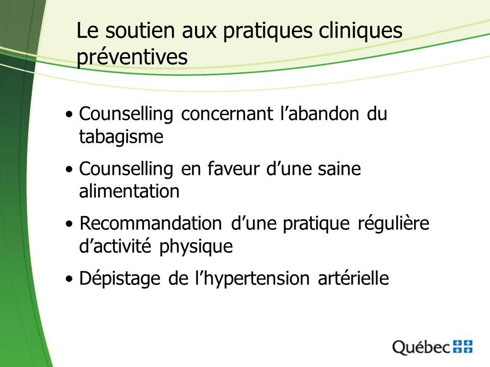 Le soutien aux pratiques cliniques préventives Counselling concernant l'abandon du tabagisme Counselling en faveur d'une saine alimentation Recommanda