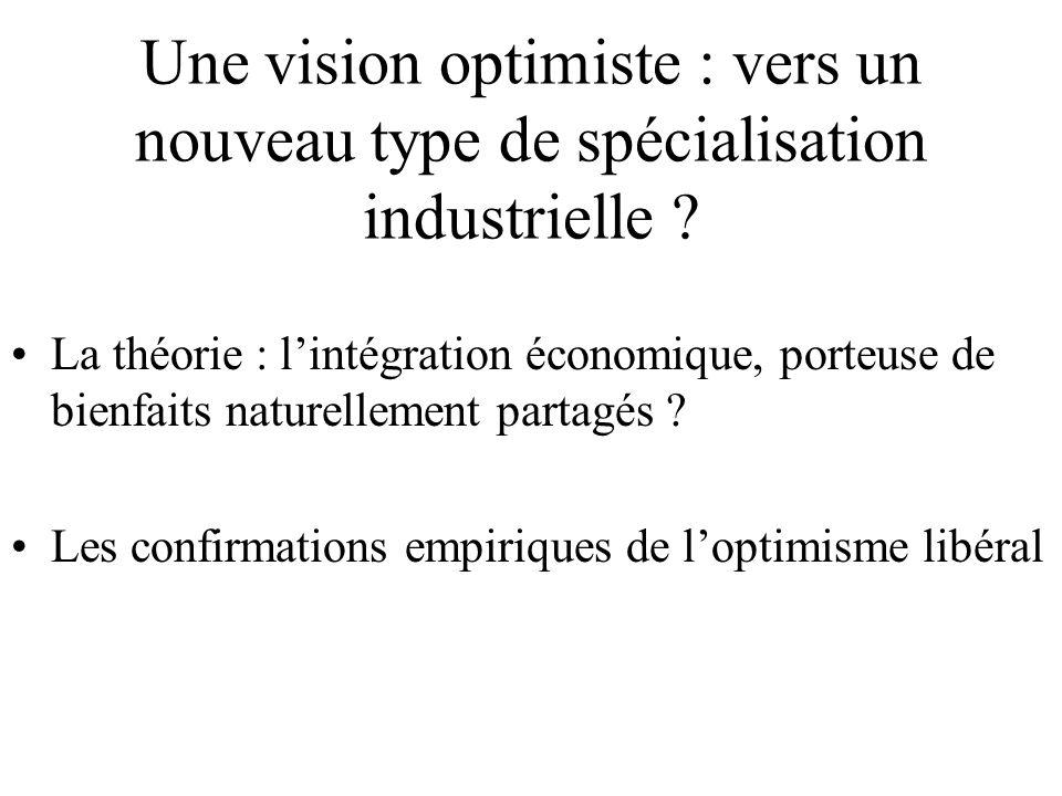 Une vision optimiste : vers un nouveau type de spécialisation industrielle ? La théorie : l'intégration économique, porteuse de bienfaits naturellemen