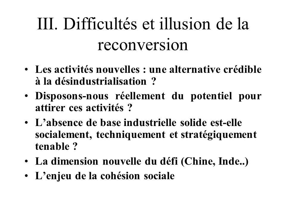 III. Difficultés et illusion de la reconversion Les activités nouvelles : une alternative crédible à la désindustrialisation ? Disposons-nous réelleme