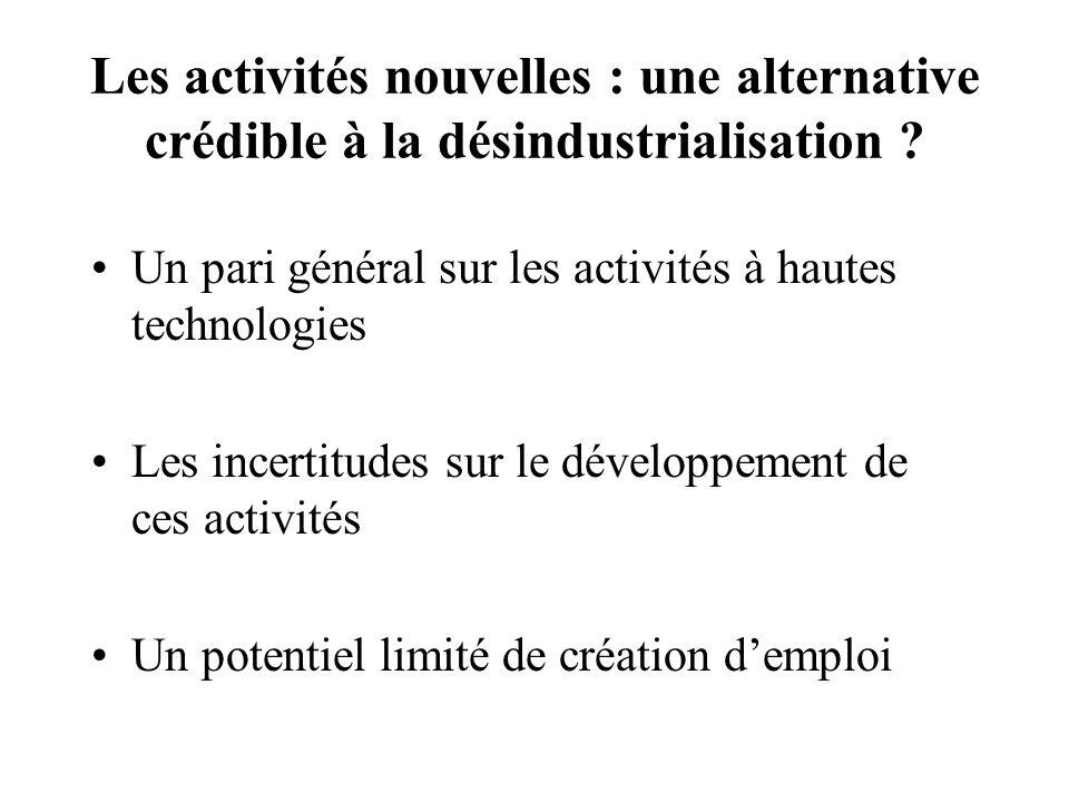 Les activités nouvelles : une alternative crédible à la désindustrialisation ? Un pari général sur les activités à hautes technologies Les incertitude