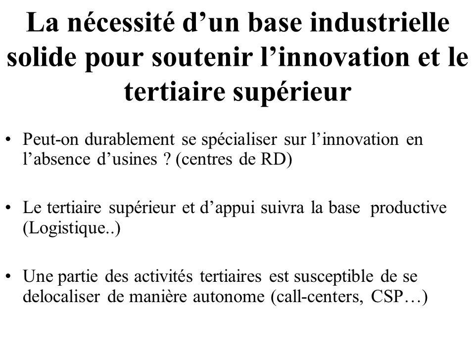 La nécessité d'un base industrielle solide pour soutenir l'innovation et le tertiaire supérieur Peut-on durablement se spécialiser sur l'innovation en