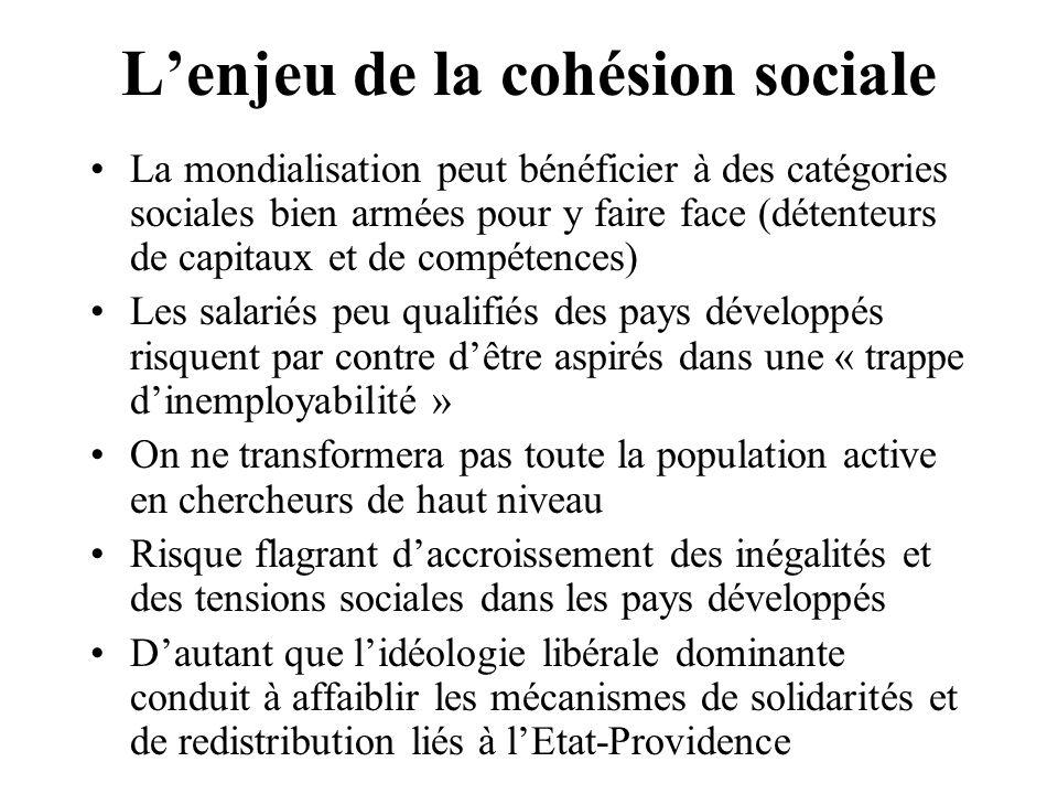L'enjeu de la cohésion sociale La mondialisation peut bénéficier à des catégories sociales bien armées pour y faire face (détenteurs de capitaux et de
