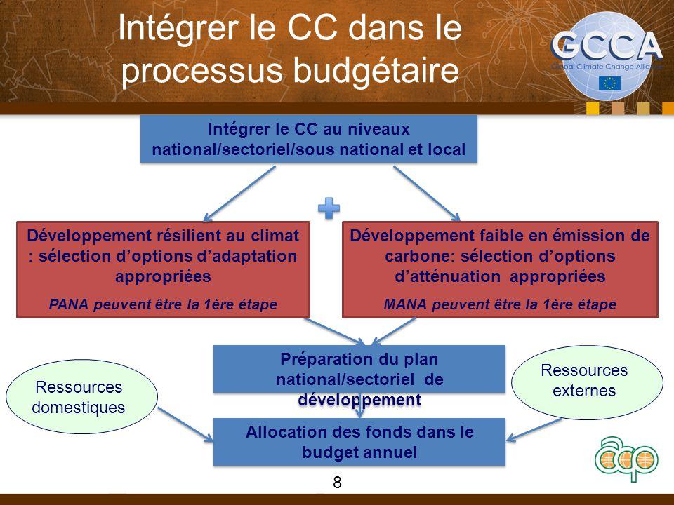Intégrer le CC dans le processus budgétaire 8 Intégrer le CC au niveaux national/sectoriel/sous national et local Développement résilient au climat : sélection d'options d'adaptation appropriées PANA peuvent être la 1ère étape Développement faible en émission de carbone: sélection d'options d'atténuation appropriées MANA peuvent être la 1ère étape Préparation du plan national/sectoriel de développement Allocation des fonds dans le budget annuel Ressources domestiques Ressources externes
