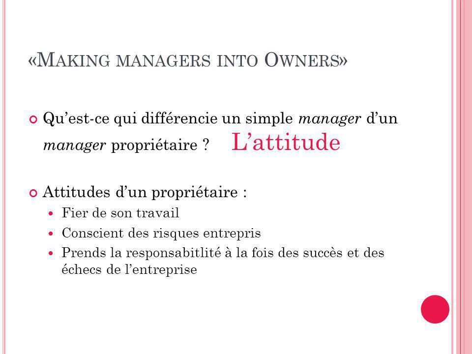 «M AKING MANAGERS INTO O WNERS » Qu'est-ce qui différencie un simple manager d'un manager propriétaire .