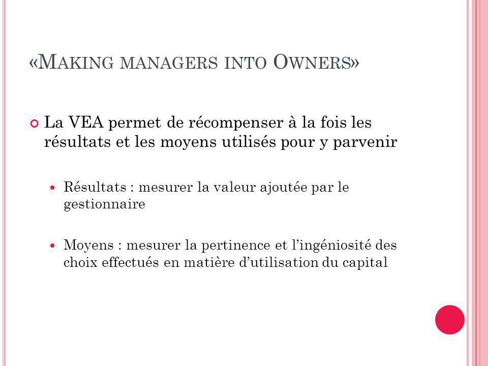 «M AKING MANAGERS INTO O WNERS » La VEA permet de récompenser à la fois les résultats et les moyens utilisés pour y parvenir Résultats : mesurer la valeur ajoutée par le gestionnaire Moyens : mesurer la pertinence et l'ingéniosité des choix effectués en matière d'utilisation du capital