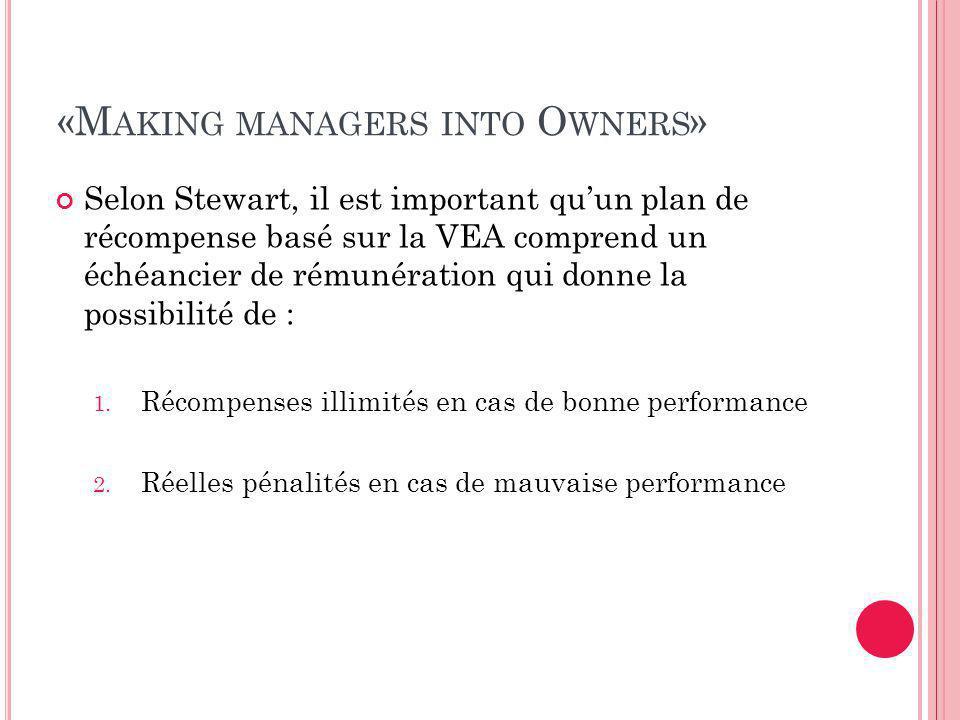 «M AKING MANAGERS INTO O WNERS » Selon Stewart, il est important qu'un plan de récompense basé sur la VEA comprend un échéancier de rémunération qui donne la possibilité de : 1.