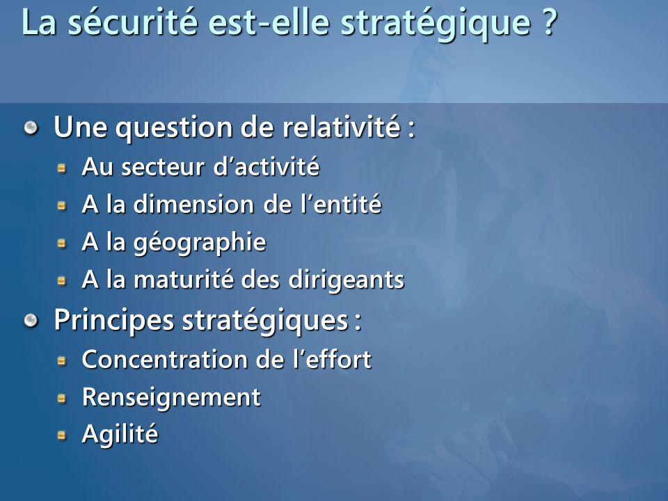 La sécurité est-elle stratégique ? Une question de relativité : Au secteur d'activité A la dimension de l'entité A la géographie A la maturité des dir