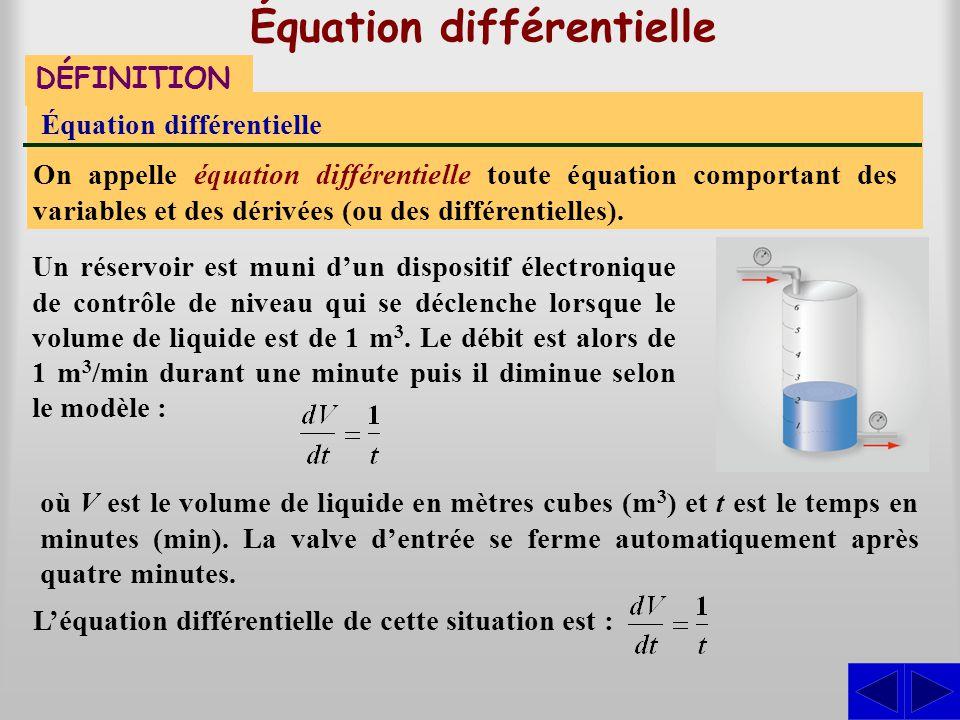 Équation différentielle DÉFINITION Équation différentielle On appelle équation différentielle toute équation comportant des variables et des dérivées
