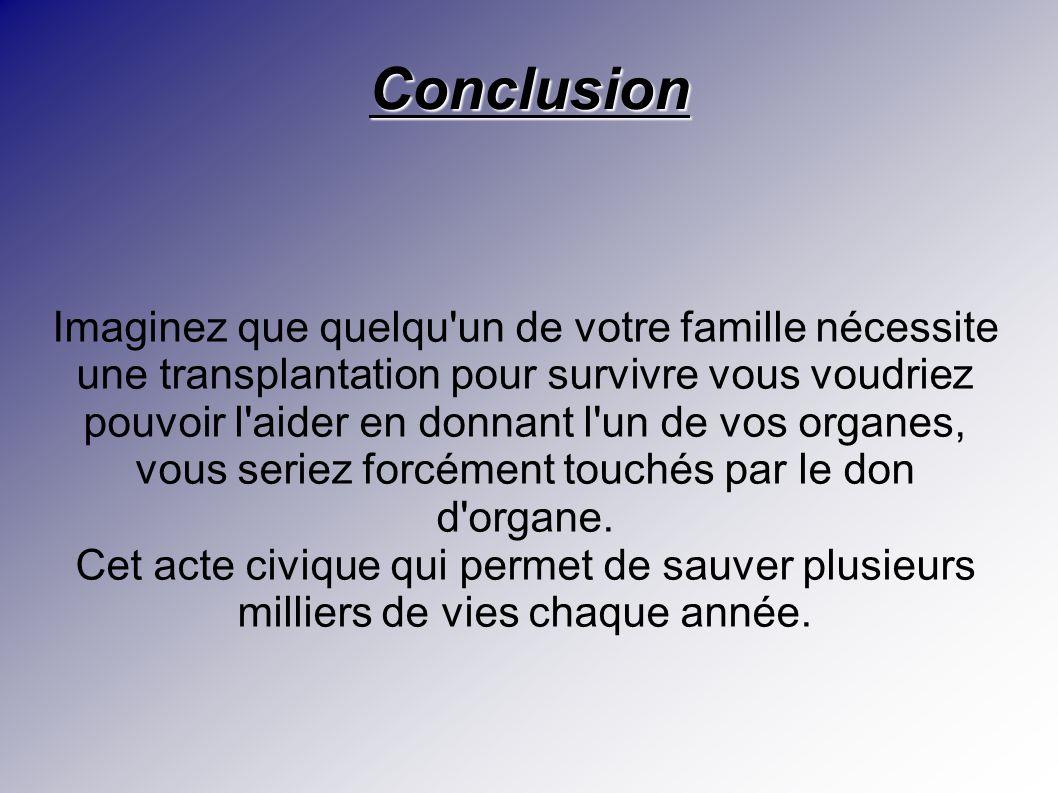 Conclusion Imaginez que quelqu'un de votre famille nécessite une transplantation pour survivre vous voudriez pouvoir l'aider en donnant l'un de vos or