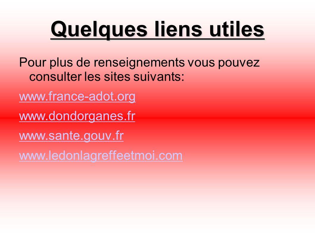 Quelques liens utiles Pour plus de renseignements vous pouvez consulter les sites suivants: www.france-adot.org www.dondorganes.fr www.sante.gouv.fr w
