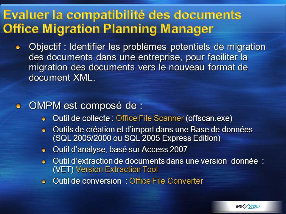 Objectif : Identifier les problèmes potentiels de migration des documents dans une entreprise, pour faciliter la migration des documents vers le nouveau format de document XML.