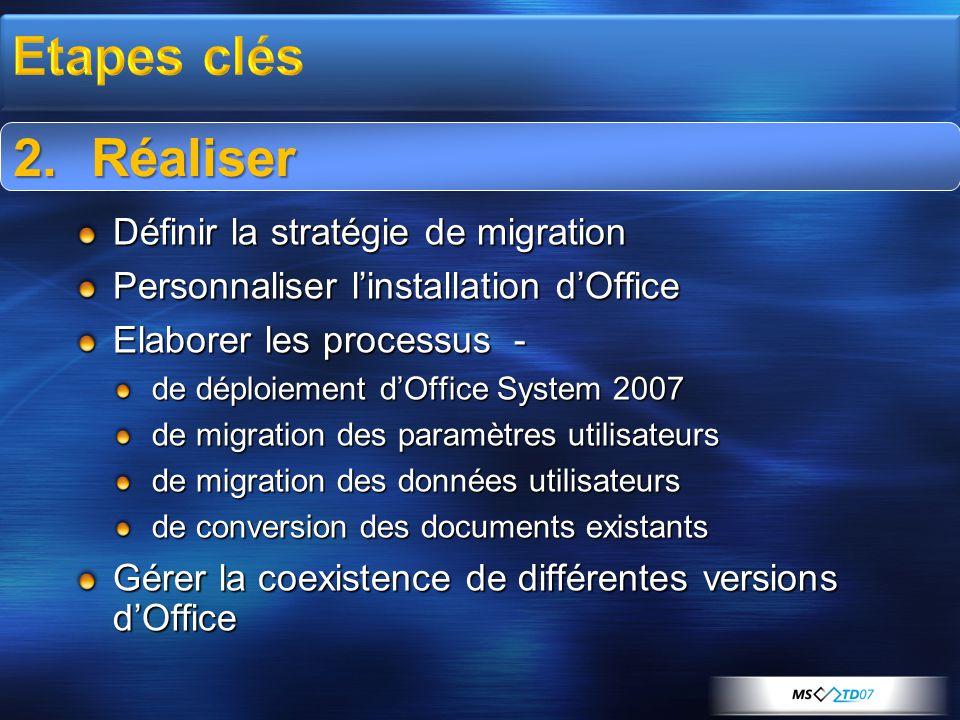 2.Réaliser Définir la stratégie de migration Personnaliser l'installation d'Office Elaborer les processus - de déploiement d'Office System 2007 de migration des paramètres utilisateurs de migration des données utilisateurs de conversion des documents existants Gérer la coexistence de différentes versions d'Office 2.Réaliser