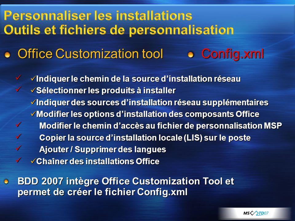 Office Customization tool Config.xml Indiquer le chemin de la source d'installation réseau Indiquer le chemin de la source d'installation réseau Sélec