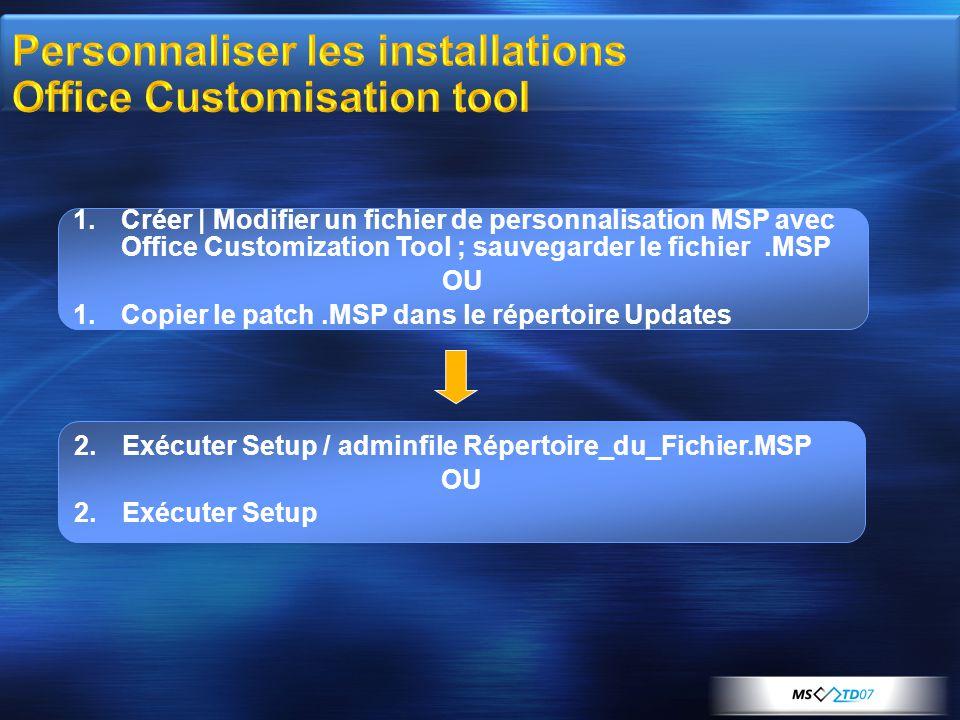 1.Créer | Modifier un fichier de personnalisation MSP avec Office Customization Tool ; sauvegarder le fichier.MSP OU 1.Copier le patch.MSP dans le répertoire Updates 2.Exécuter Setup / adminfile Répertoire_du_Fichier.MSP OU 2.Exécuter Setup