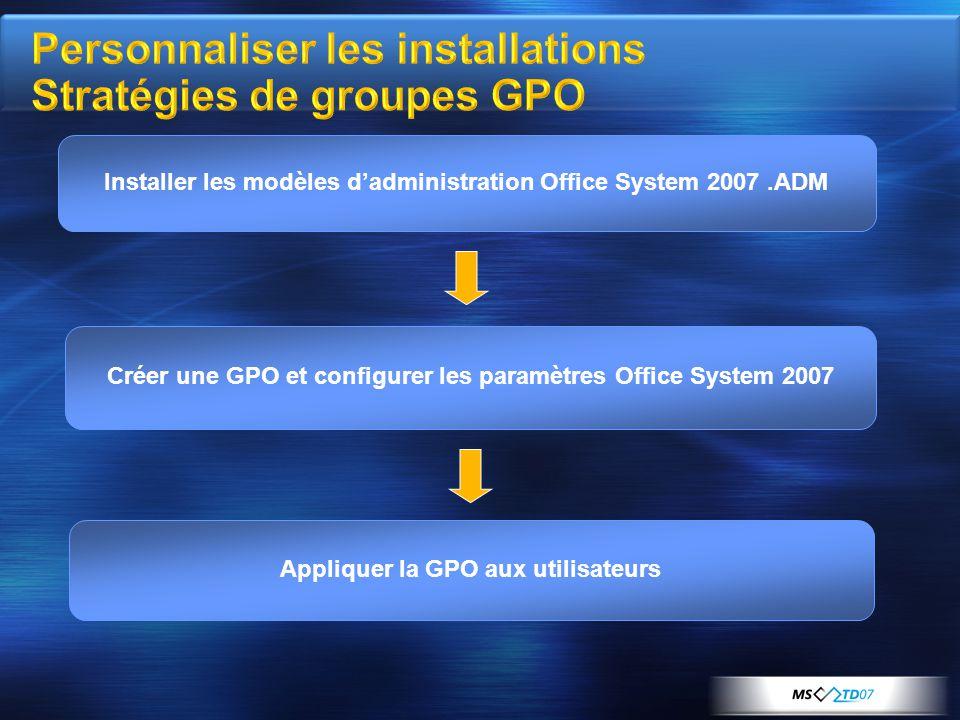 Installer les modèles d'administration Office System 2007.ADM Appliquer la GPO aux utilisateurs Créer une GPO et configurer les paramètres Office System 2007