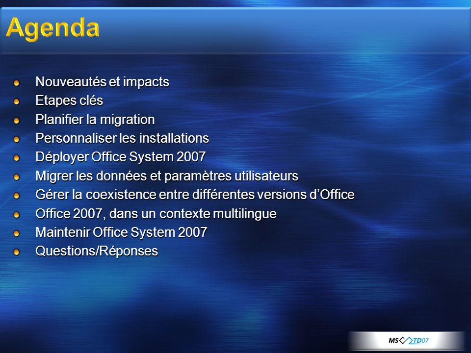 Nouveautés et impacts Etapes clés Planifier la migration Personnaliser les installations Déployer Office System 2007 Migrer les données et paramètres
