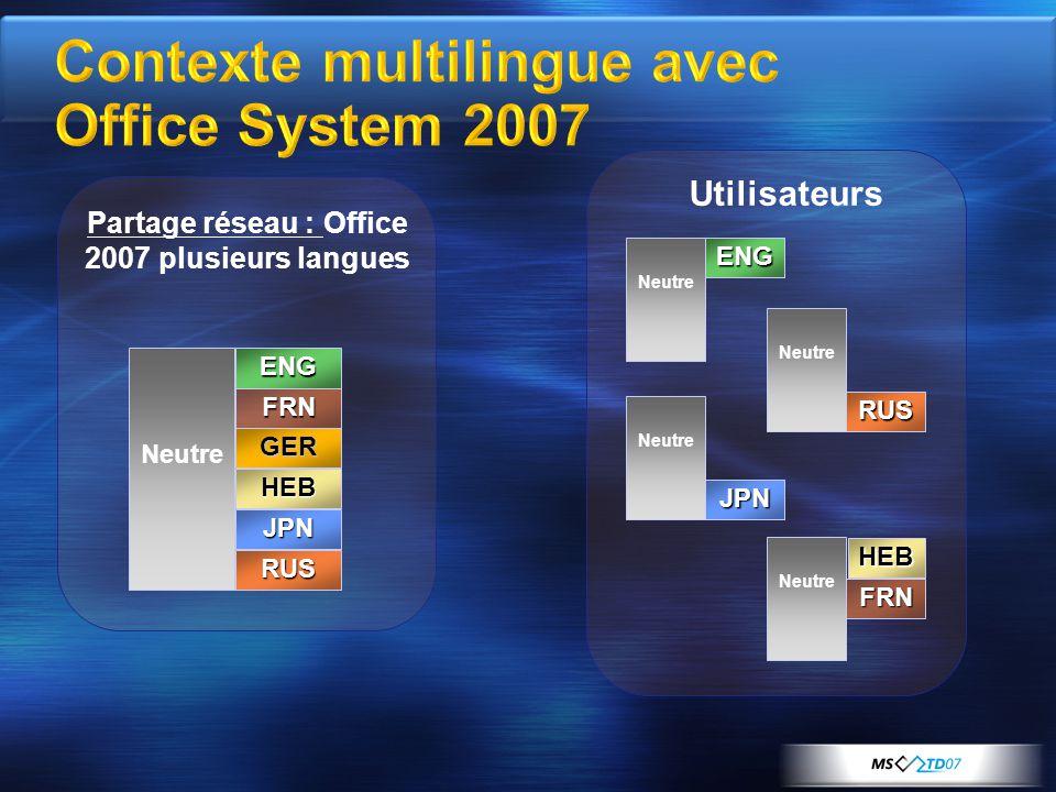 Partage réseau : Office 2007 plusieurs langues Utilisateurs FRN GER HEB JPN RUS ENG Neutre ENG RUS JPN FRN HEB