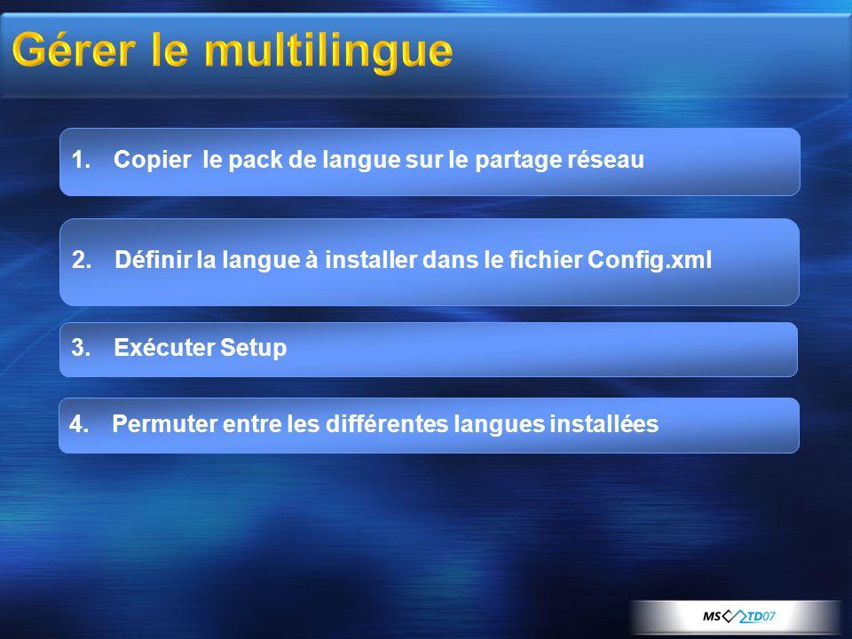 1.Copier le pack de langue sur le partage réseau 4.Permuter entre les différentes langues installées 3.Exécuter Setup 2.Définir la langue à installer dans le fichier Config.xml