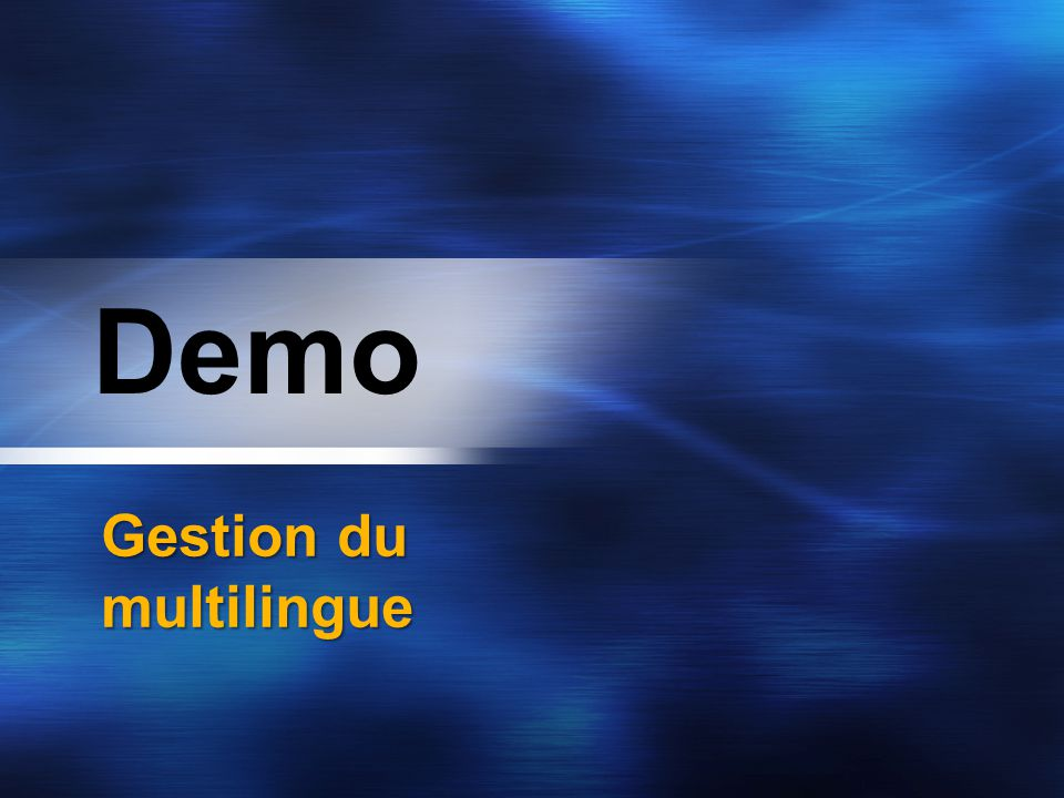 Demo Gestion du multilingue