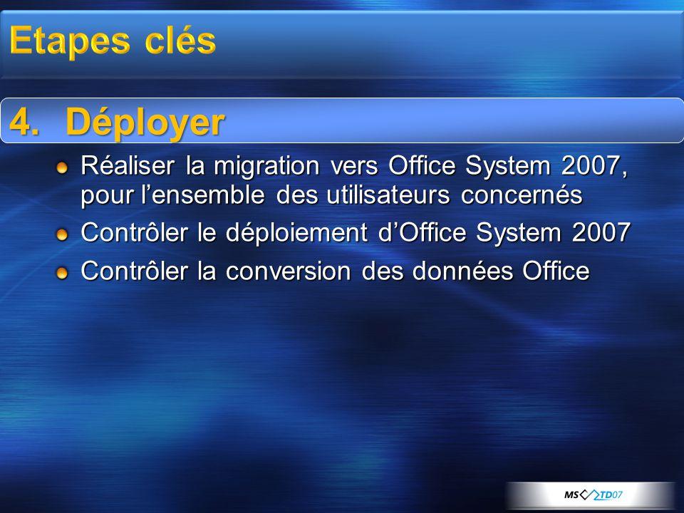 4.Déployer Réaliser la migration vers Office System 2007, pour l'ensemble des utilisateurs concernés Contrôler le déploiement d'Office System 2007 Con