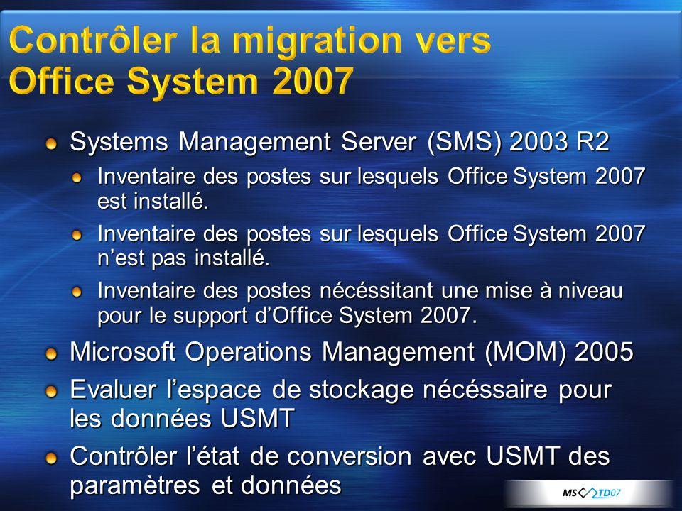 Systems Management Server (SMS) 2003 R2 Inventaire des postes sur lesquels Office System 2007 est installé. Inventaire des postes sur lesquels Office