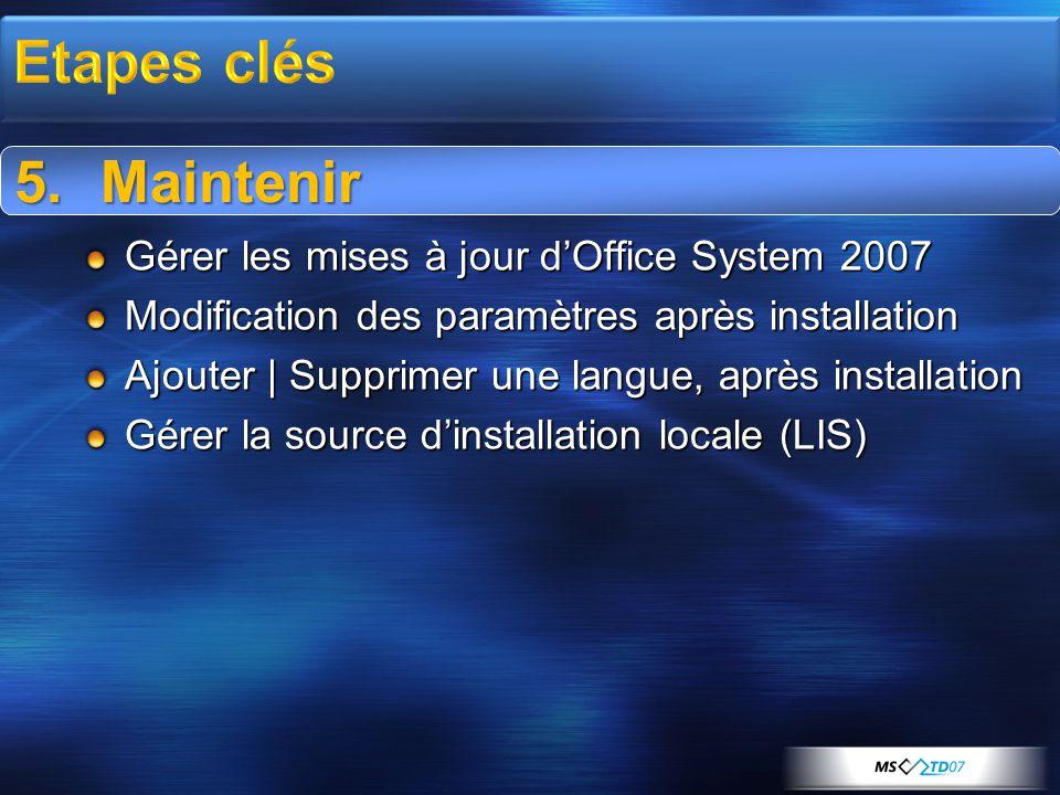 5.Maintenir Gérer les mises à jour d'Office System 2007 Modification des paramètres après installation Ajouter | Supprimer une langue, après installation Gérer la source d'installation locale (LIS) 5.Maintenir