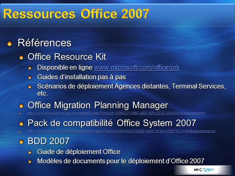 Références Office Resource Kit Disponible en ligne www.microsoft/com/office/ork www.microsoft/com/office/ork Guides d'installation pas à pas Scénarios de déploiement Agences distantes, Terminal Services, etc.
