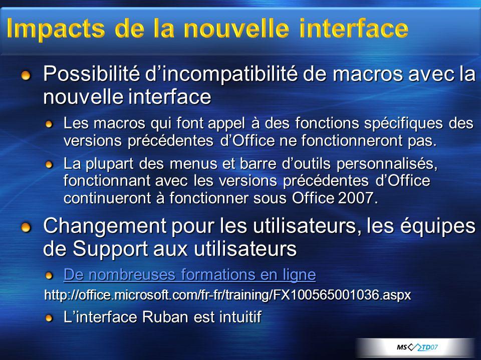 Possibilité d'incompatibilité de macros avec la nouvelle interface Les macros qui font appel à des fonctions spécifiques des versions précédentes d'Of