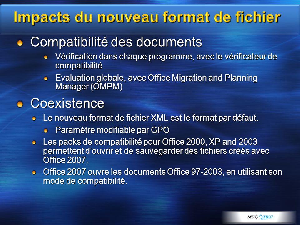 Compatibilité des documents Vérification dans chaque programme, avec le vérificateur de compatibilité Evaluation globale, avec Office Migration and Planning Manager (OMPM) Coexistence Le nouveau format de fichier XML est le format par défaut.