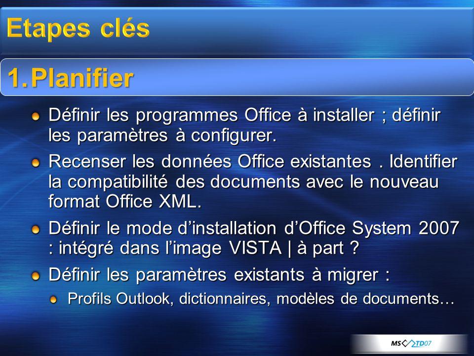1.Planifier Définir les programmes Office à installer ; définir les paramètres à configurer. Recenser les données Office existantes. Identifier la com