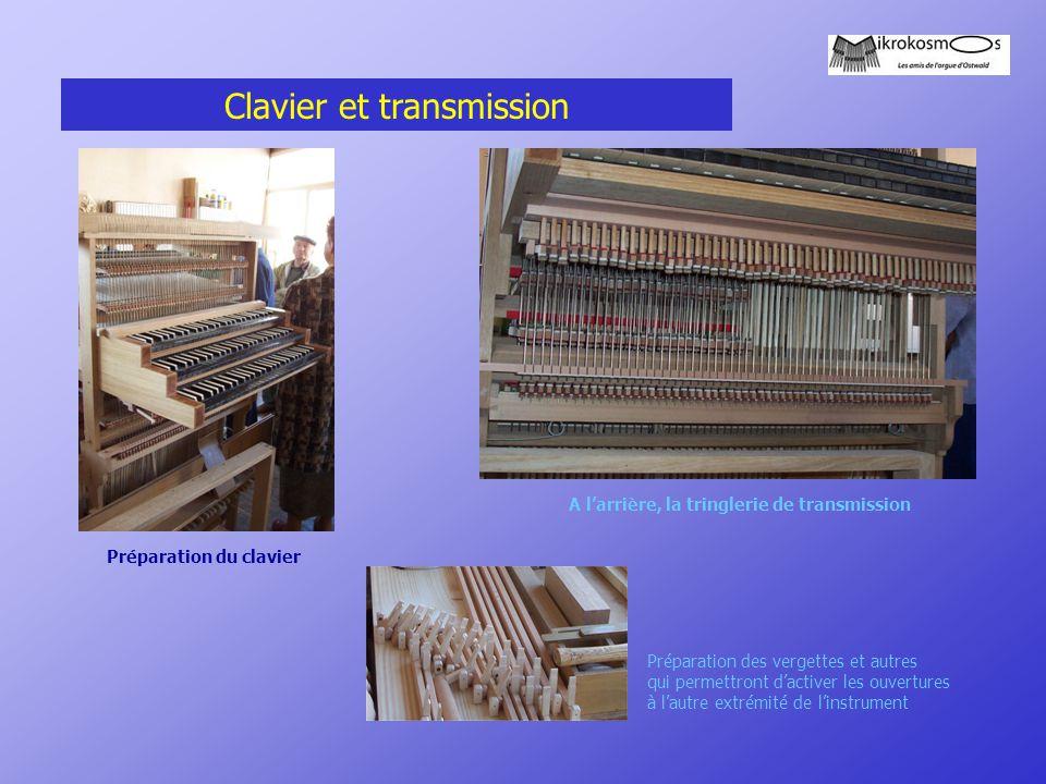 Clavier et transmission Préparation du clavier A l'arrière, la tringlerie de transmission Préparation des vergettes et autres qui permettront d'active