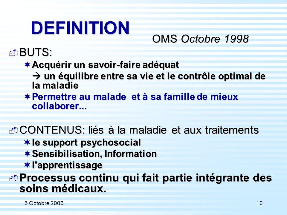5 Octobre 200610 DEFINITION OMS Octobre 1998  BUTS:  Acquérir un savoir-faire adéquat  un équilibre entre sa vie et le contrôle optimal de la malad