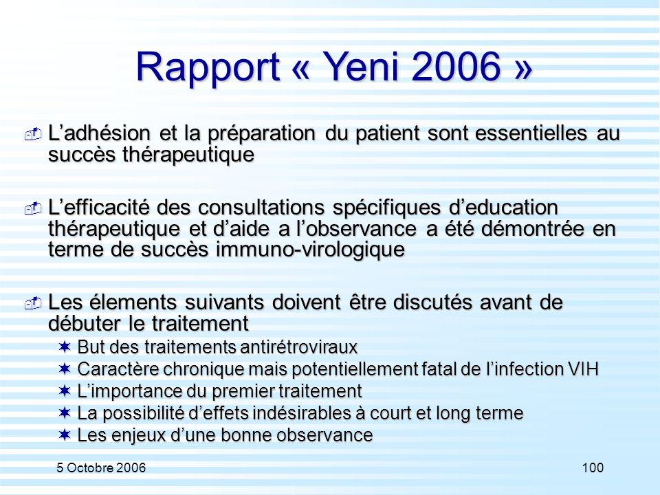 5 Octobre 2006100 Rapport « Yeni 2006 »  L'adhésion et la préparation du patient sont essentielles au succès thérapeutique  L'efficacité des consult