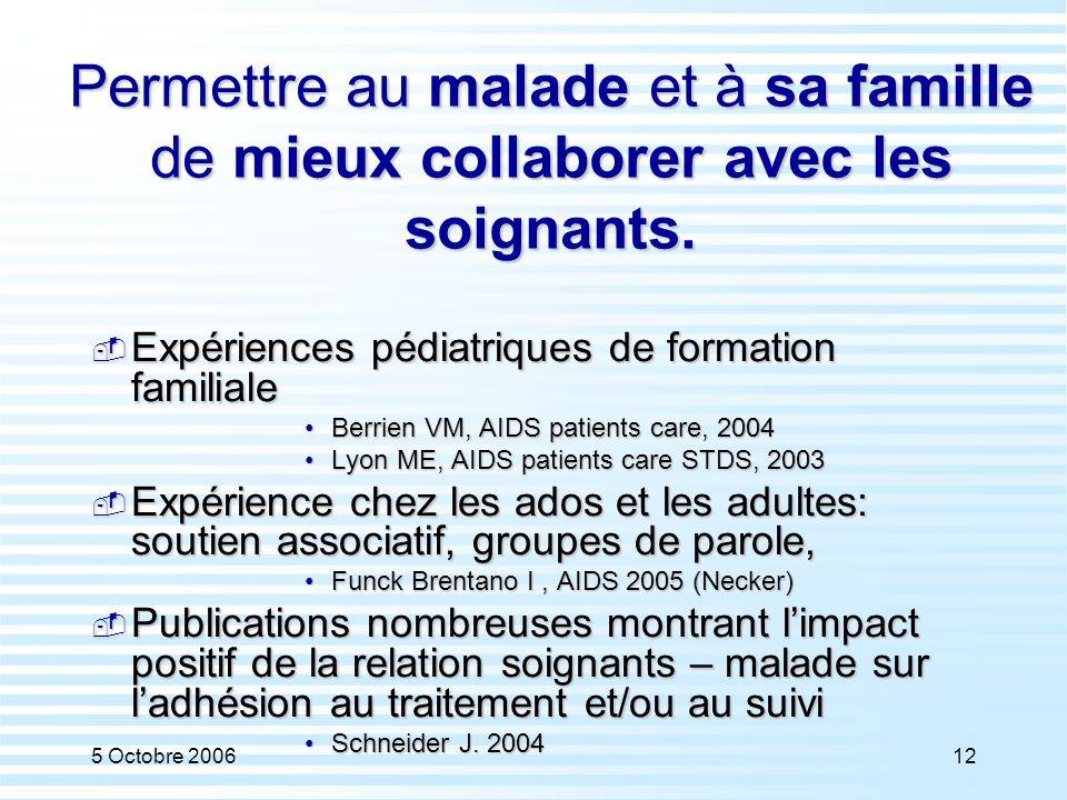 5 Octobre 200612 Permettre au malade et à sa famille de mieux collaborer avec les soignants.  Expériences pédiatriques de formation familiale Berrien